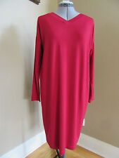NWT EILEEN FISHER Viscose Jersey V-neck Shift Long-sleeve China Red DRESS XS