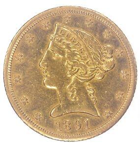 1891-CC $5 Liberty Half Eagle BU Details JO/1621