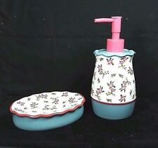 "Sear's Cannon Heritage ""Sarah"" Floral Set of Soap Dish & Lotion Pump Dispenser"