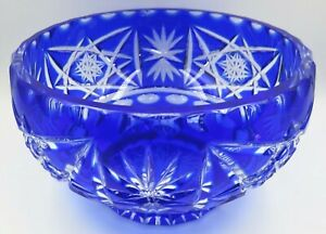Vintage Bohemian Blue Cut to Clear Glass Bowl