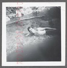 Unusual Vintage Photo Man in River w/ Finger Bomb Mistake 698798