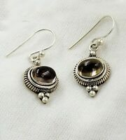 Solid 925 Sterling Silver Jewelry Smoky Quartz Gemstone Daily Wear Gift Earring