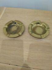 Vintage Pair Of Brass Ashtrays round 9cm