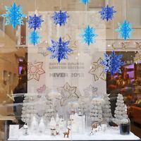 6pcs/string 3D Hollow Snowflake Christmas Ornaments Xmas Tree Hanging Decor--