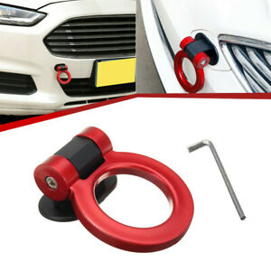 Car Ring Track Racing Style Tow Hook Look Decoration Red Accessories Universal