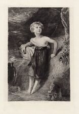 """WOW 1800s THOMAS LAWRENCE Etching """"Peasant Child and the Baby Goat"""" SIGNED COA"""