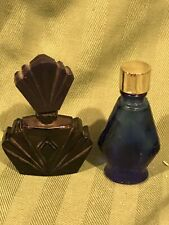 Lot Of 2 Vintage Miniature Colored Glass Perfume Bottles