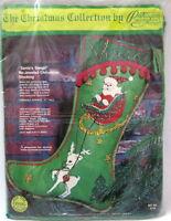 felt Christmas Stocking KIT Santa's Sleigh jeweled sequins beads 1975 Paragon
