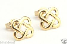 CLASSIC 9ct Gold Square Oval Link Celtic Knot Studs EARRINGS B'Day Mum's GIFTBOX