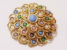Joan Rivers Colorful Pastel Cabochon Cluster Tiered Circle Brooch