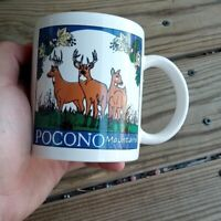 Vintage Pocono Mountains PA Ceramic Coffee Mug  Cup Deer