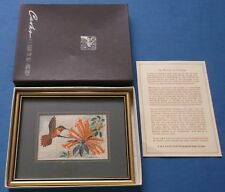 VINTAGE GENUINE CASH WOVEN SILK RUFOUS HUMMING BIRD WILDLIFE FRAMED BOXED