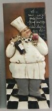 "Rare 3D Fat Chef Wall Art Decor Ceramic feel Plaque, Chef & Wine,approx. 8"" x 3"""