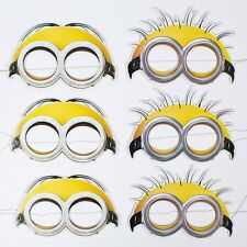 MINIONS DESPICABLE ME PAPER FACE MASK PACK OF 6 BIRTHDAY PARTY SUPPLIES