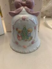 Precious Moments Bell W/Pink Bow By Enesco Avon 1997 Christmas