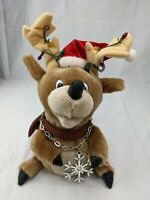 """Gemmy Reindeer Plush Rapping Santa Song Lights Animated Musical 11"""" Stuffed Toy"""