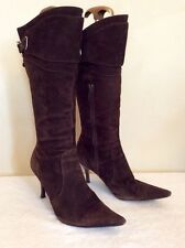 KAREN MILLEN BROWN SUEDE CALF LENGTH BOOTS SIZE 3.5/36
