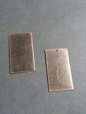 4 Metal Stamping Blanks Rectangle Pendants Antiqued Copper Tone Brass Charms