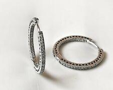 Pandora Hearts Of Pandora Hoop Earrings 296319CZ S925 ALE Genuine