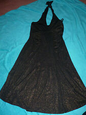 M AND S - PATRICIA FIELD BLACK AND GOLD  DRESS - IDEAL PARTY / PROM - SIZE 6