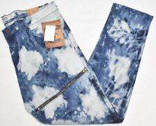 Akademiks Jeans Men's 48x34 Splash Marble Wash Zipper Moto Stretch Denim N905