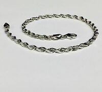 "14k Solid White Gold Diamond Cut Rope Chain Bracelet 7"" 3  mm 4 grams (WR023)"