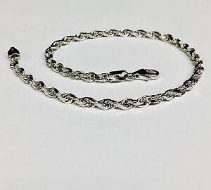 "14k Solid White Gold Diamond Cut Rope Chain Bracelet 7"" 3  mm 4 grams (WR023)"