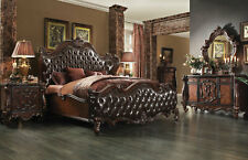 Old World Brown Design Bedroom Furniture - 5pcs Set w/ King Size Tufted Bed IAA5