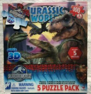 2015 Jurassic World Super 3D - 5 Puzzle Pack EUC