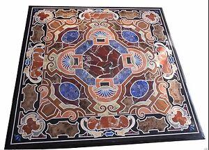 "36"" Black Marble Table Top Semi Precious Stone Inlay Handicraft Work"
