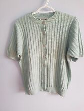 Alfred Dunner women's cardigan sweater knitted  short sleeve button down  size S