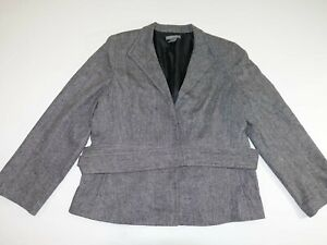 Ann Taylor Womens Belted Blazer Jacket Size 18 Gray Snap Button Front Wool Blend
