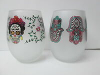 Culver Stemless Wine Glasses, Dias de Los Muertos Skull Palm Ojo, Set of 2, New