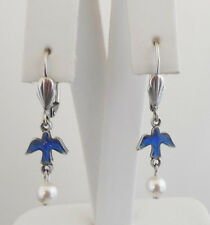 NEW ANNE KOPLIK ENAMELED BLUE BIRD WITH PEARL DROP LEVERBACK EARRINGS
