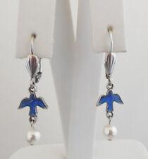 NEW ANNE KOPLIK ENAMELED BLUE BIRD WITH PEARL DROP LEVERBACK EARRINGS