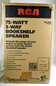 NEW SEALED Vtg PAIR of RCA Bookshelf Speakers 3-Way 75W STS-830 Black Case Grill