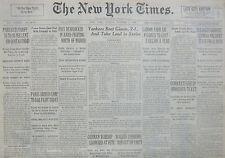 10-1936 October 4 YANKS BEAT GIANTS 2-1 TAKE LEAD IN WORLD SERIES. FRANCO SPAIN