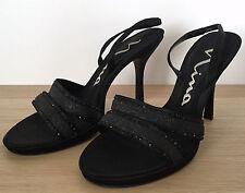 NINA Black Open Toe Slingbacks Jewel Glitter Leather Satin Heels Shoes Sz 8 M