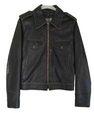 LANVIN Blouson Biker Cuir brun NEUF - IT.46 - NEW brown Vintage Leather Jacket