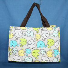 THIRTY ONE Small Collapsible Organizer Tote Beige & Multicolor Elephant Print