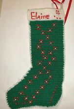 """Vintage Crocheted Christmas Stocking Handmade Crochet 15"""" """"Elaine"""""""