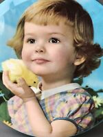 Retro Round Flat Metal Tin Girl Child and Chick Bird 1960s EMPTY Toffee Sweets