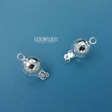 2PC Solid Sterling Silver 8mm Laser Cut Round Ball Clasp 1 Strand #33260