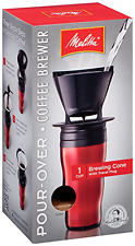 Melitta Coffee Maker, Single Cup Pour-Over Brewer with Travel Mug, Red
