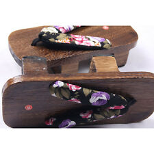 Womens Bidentate Flops clogs Sandals Japanese style Totem Flower wood Slippers