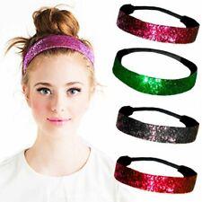 Teen Girls Elastic Wide Hairband Glitter Solid Headband Sports Non-Slip Headwrap