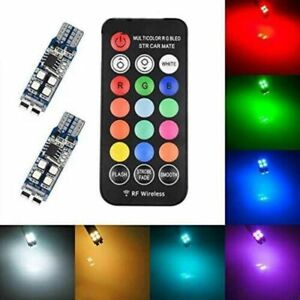 LED Color Changing RGB 168 194 T10 Bulbs w/RF Remote Control Car Parking Lights