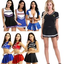 Sexy Women Cheerleading Costume SchoolGirl Outfit Mini Fancy Dress Skirt Uniform