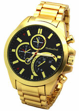 Mens Gold Filled Tank Metal Band Black Face Fashion Casual Quartz Wrist Watch M