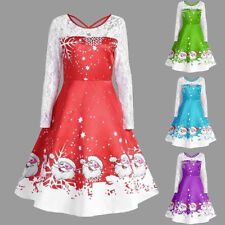 Fashion Women's Vintage Lace Long Sleeve Print Christmas Party Swing Dress New P